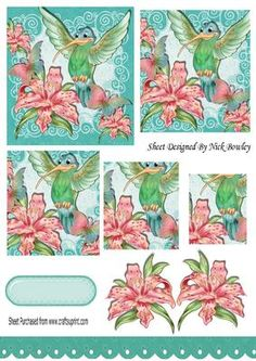 Humming bird with peach lillies butterflies pyramids on Craftsuprint - Add To Basket!
