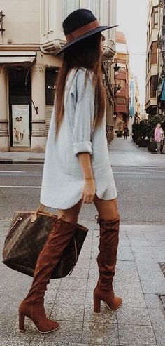 #fall #outfits / boots + dress