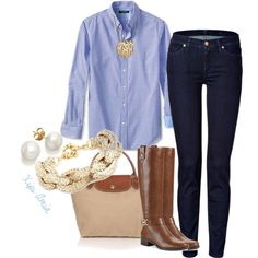 Preppy Monday. by xipiamin on Polyvore featuring polyvore, fashion, style, 7 For All Mankind, Michael Kors, Longchamp, BaubleBar and Banana Republic