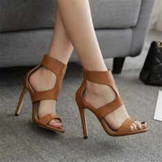 Women Summer Hollow Out Stiletto Heel Sandals Fashion Roman Open Toe Sandals Casual Ankle Wrap Heels Retro Women Shoes Black High Heels, High Heels Stilettos, Stiletto Heels, Shoes Heels, Heeled Sandals, Sandals Outfit, Brown High Heels, Top Shoes, Shoes Sneakers