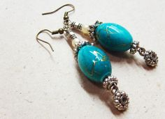Turquiose bead earrings - by Karboojeh