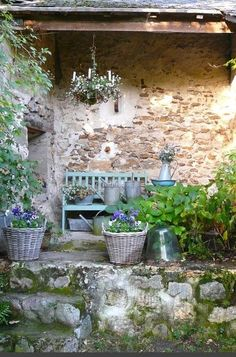 Charming French farmhouse outdoor sitting area with rustic stone, chandelier, and green bench, French Farmhouse Decor Inspiration Ideas will take you on a romantic tour of images capturing this charming decor style. Dream Garden, Garden Art, Home And Garden, Cacti Garden, Blue Garden, Autumn Garden, Shade Garden, Outdoor Rooms, Outdoor Gardens