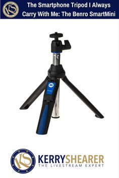 """There's one tripod for livestreaming I ALWAYS carry with me: the Benro SmartMini. It's a 38"""" tripod, a selfie stick, and a handheld grip all in one! And it has a bluetooth remote. AWESOME for Facebook Live, Periscope, and smartphone video production for your business, non-profit or public agency. Must have!!"""