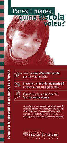 """Fulletó """"Pares i mares, quina escola voleu?"""" Secretariat Escola Cristiana de Catalunya, 2001.  #design #religion #education"""