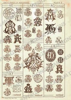 Monograms AE through AH - page scan from vintage monogram book