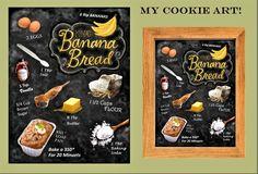 banana bread recipe art, recipe art, kitchen art, black board recipes, kitchen décor, chef gift, grandmother gift, mother gift, art print