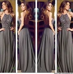 long flowy grey dresses | Gray strapless gown with an a-line skirt looks amazing on pear-shaped ...