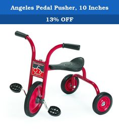 Angeles Pedal Pusher, 10 Inches. Comfort back support. Heavy-duty rubber handgrips. Durable welded steel frame. Recessed no-pinch hub design. Long-lasting, self-lubricating nylon bearings. One-piece welded crank. Non-exposed pedal hardware. Solid rubber tires on spoke less steel wheels. Red powder-coated frame. Recommended for ages 24 - 36 months. Guarantee: Five years. Warranty: Five years. Fully assembled in U.S.A.. No assembly required. Seat: 13.5 in. H. Handlebars: 20.5 in. H. Weight…