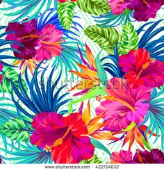 vector pattern with tropical flowers. Detailed colorful graphic botanical elements. Neon colors - stock vector