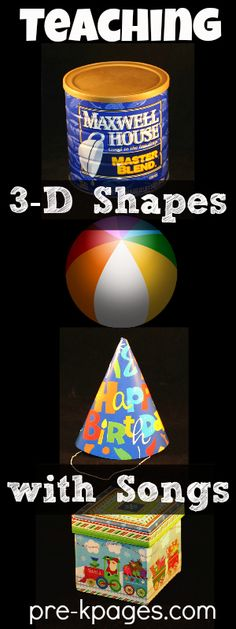Teaching Shapes Teaching Shapes in Preschool and Kindergarten<br> Teaching shapes cone, cube, cylinder and sphere in preschool and kindergarten with hands-on materials, activities and songs. 3d Shapes Kindergarten, Teaching Shapes, Kindergarten Math Activities, Preschool Math, Math Classroom, Teaching Math, 3d Shapes Activities, Preschool Shapes, Numeracy Activities
