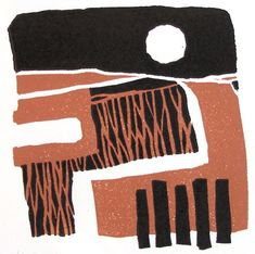 'Sussex' by British artist & printmaker Michael Gage. Reduction linocut, edition of 9, 10 x 10 cm. via the artist's site