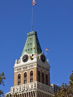 The Oakland Tribune Tower (with Pride flag), uncredited on Oakland Daily Photo