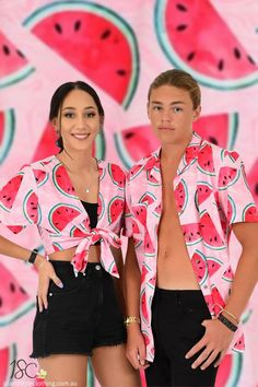 Matching Couples Set - 'Shake Ya Melons' Mens Shirt & Ladies Wrap Top. Perfect outfit for a music festival, luau or cruise. #hawaiianshirt #hawawaiianshirts #partyshirt #alohafriday #watermelonshirt #luaushirt #cruisewear #islandstyleclothing #festivalshirt #festivalfashion #fashion #fashionita #partyshirt #couplesset #couplesgoals #matching #matchymatchy #matchingshirts #luau #beachparty #cruise #couplesgoals #honeymoon