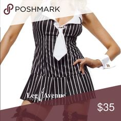Miss Mafia Costume Miss Mafia Costume includes halter top pinstriped dress with tie and cuffs with dollar sign. Leg Avenue Other