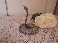 Vintage Swan Ring Stand Silver Plated Ring by CreativeWorkStudios
