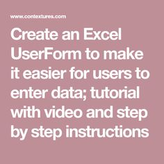 Create an Excel UserForm to make it easier for users to enter data; tutorial with video and step by step instructions Computer Jobs, Computer Lessons, Computer Technology, Educational Technology, Computer Science, Vba Excel, Excel Hacks, Lean Six Sigma, Data Entry