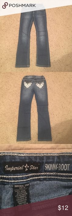 Girls size 10 skinny boot jeans Youth girls jeans with adjustable waist, in excellent condition. Imperial Star Bottoms Jeans