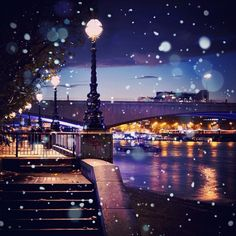 "@Jiri Jacknowitz Jacknowitz Siftar's photo: ""#London winter nights  #southbank #winter #remix #slowshutter #night #thames #river #snow #snowflakes #edit"""