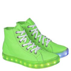 Womens Multicolored LED Light Up High Top Lace Up Flat Sneakers