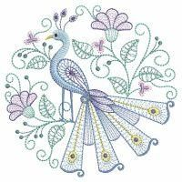 Put your embroidery machine to work for you today and stitch out this beautiful collection of Rippled Peacocks!