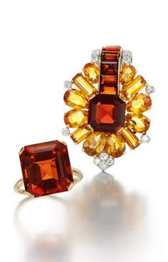 Citrine and diamond brooch and ring, Cartier, 1930's.