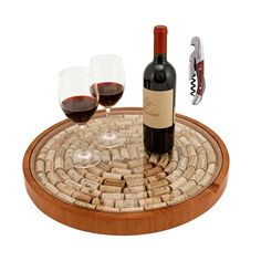 TRUE Fabrications Lazy Susan Cork Storage with Wooden Double Hinged Corkscrew Set Includes: One Lazy Susan Cork Display, and One Wooden Double Hinged Corkscrew Wine Cork Projects, Wine Cork Crafts, Craft Projects, Cuadros Diy, Man Cave Items, Wine Time, Lazy Susan, Wood Glass, Wooden Diy