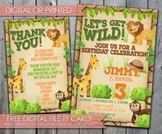 Safari Birthday Invitation Let's Get Wild by PerfectPrintableCo