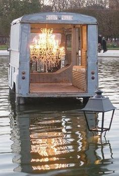 Van with chandelier