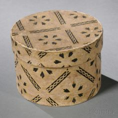 Small Wallpaper-printed Band Box, America, 19th century, round covered box with foliate and geometric chain designs in black on a faded yellow and pink ground, ht. 3 3/4, dia. 5 3/8 in.