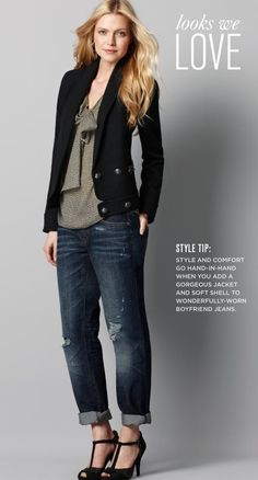 I love pairing a jacket with denim...but my denim comes without the distressed look :-)