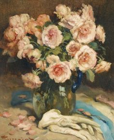 Fernand Toussaint - Roses in a glass