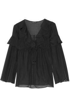 RACHEL ZOE Anna Ruffled Silk-Georgette Top. #rachelzoe #cloth #top