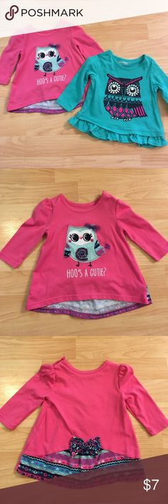 Two Owl Tops 6 months Adorable Owl Tops. Pink has the cutest back! Green has cute ruffle all the way around. Both size 6 Month. Would make a great gift 🎁 Shirts & Tops Tees - Long Sleeve