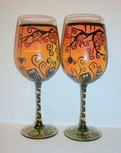 Halloween Handpainted wine Glasses Haunted by SharonsCustomArtwork