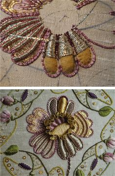 Crewel Embroidery Tutorial A phenomenal example of embroidery in the Netherlands, with time lapse video of process - breathtaking work Gold Embroidery, Crewel Embroidery, Cross Stitch Embroidery, Embroidery Patterns, Embroidery Hoops, Flower Embroidery, Simple Embroidery, Cut Work Embroidery, Embroidery Digitizing