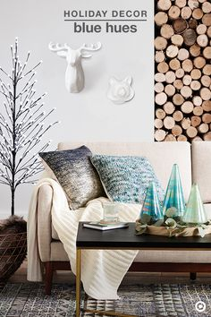 Create a luxurious and welcoming space this holiday season by mixing in cool blues, a little shimmer and loads of comfort. Luminous teal mercury glass trees, sparkly snowflake wall decor and a pre-lit twig tree add the perfect amount of sparkle and shine, providing an exquisite holiday ambiance. And, having soft, faux-fur or knit blankets and toss pillows nearby will easily up the cozy factor on a chilly winter night.