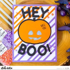 Hey BOO! | Halloween Light Up Interactive Card | Studio Katia
