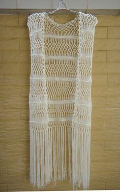 Ivory Fringe Vest Crochet Bikini Cover Up por Tinacrochetstudio