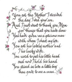 mother of the groom poem from bride - Google Search