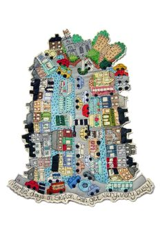 Janet Browne Textiles - Towns and villages. Great whimsical way to do a type of map quilt Free Motion Embroidery, Embroidery Applique, Machine Embroidery, Map Quilt, Creative Textiles, House Quilts, Landscape Quilts, Wet Felting, Textile Artists