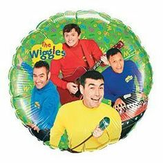 """The Wiggles 18"""" Mylar Balloon by PartyExpress. $7.99. 18 inches round. Double sided (same image on both sides). Features all four wiggles. Will stay afloat for days. Made in the USA. This 18"""" mylar balloon is double sided and features all 4 of the Wiggles. Greg is singing into a microphone, Jeff is playing the keyboard, Murry is playing his guitar, and Anthony is dancing!!! Add some fun to your Wiggles party with this self sealing mylar balloon. Comes flat (un-inflated)."""
