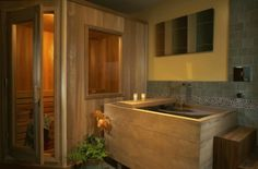 Ohhh sauna, and I'm imagining that tub is a hottub