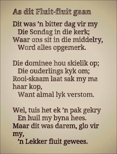 As dit fluit-fluit gaan Lyric Quotes, Funny Quotes, Life Quotes, Afrikaans Language, Beautiful Verses, Afrikaanse Quotes, Rhymes Songs, My Journal, Twisted Humor
