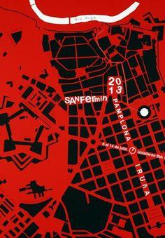 El mapa de Pamplona es un toro en el cartel anunciador de San Fermín 2013 + videos