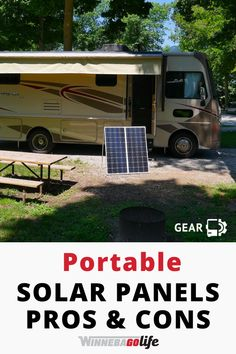 Searching for the best solar options other than roof-top installed products? If you full-time rv and want to boondock these ideas for adding solar to your rig will work for any type of rv. Here is our list of pros and cons of portable solar units if you want to get off grid. How does solar work, what solar products are right for you, and the benefits of adding portable solar gear on your next camping trip are just a few of the tips