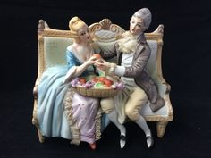 antique porcelain. Lord and lady on bench #dresden #unknown