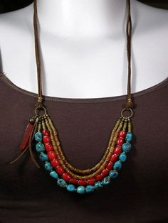 Turquoise Necklace - Leather Necklace