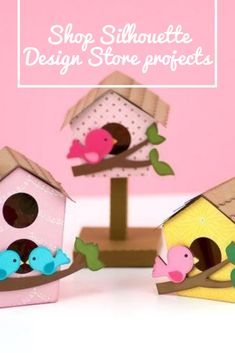 Grab these three birdhouses together in this project. All three are CAMEO + Portrait compatible when cut at original size. Silhouette Projects, Silhouette Design, Silhouette Cameo, Design Projects, Craft Projects, 3d Craft, Birdhouses, Christmas Ornaments, Portrait