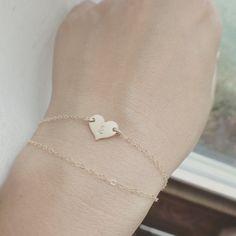 Dainty 14K Gold Filled Medium Heart Bracelet  Heart by cocowagner