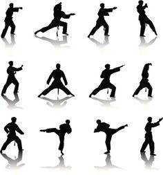 Vectores libres de derechos: Karate Silhouette